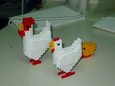 Chicken family hama perler beads by alfons05