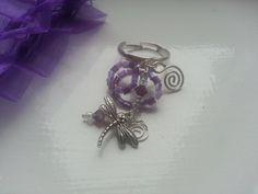 Purple Amethyst Dragonfly Charm Adjustable Silver by OnenJewellery, £10.00