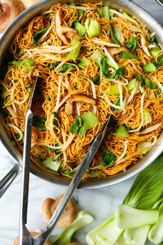 Easy Chow Mein - Skip the takeout and make the BEST chow mein at home in less than 30 min! Perfectly crispy noodles with bok choy, mushrooms + bean sprouts! Easy Chow Mein Recipe, Homemade Chow Mein, Chow Chow, Asian Recipes, Healthy Recipes, Ethnic Recipes, Chinese Recipes, Homemade Chinese Food, Healthy Meals