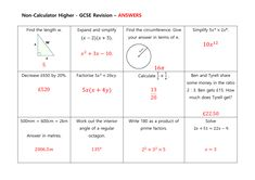 GCSE Non Calculator Revision Mats: Higher and Foundation Expand And Simplify, Gcse Revision, Student Work, Grade 1, Calculator, Mathematics, Read More, Teaching Resources, Foundation