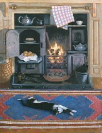 'Monty Stretching' by contemporary English  Impressionist painter Stephen Darbishire (1940).