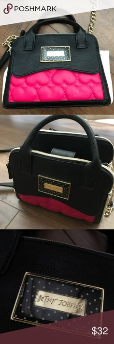 "Betsey Johnson Mini black white and pink purse Adorable mini satchel with removable cross body strap. Clean and no signs of wear. 8"" long x 6"" tall by 4"" deep. Betsey Johnson Bags Mini Bags"