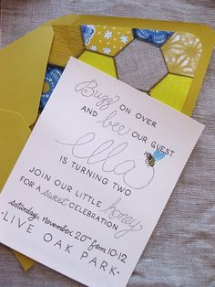 Cute birthday party bee themed invite