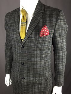 VERY RARE Vintage 1950's Dark Grey Plaid Wool Thrree-Button Sport Coat By Marks Isaacs New Orleans