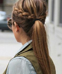 Braid pulled into pony tail! Cute