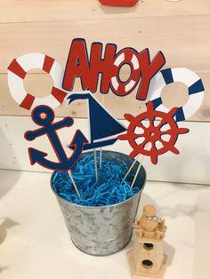 Nautical Centerpiece Anchor Decor Ahoy Its a Boy Anchor Baby Showers, Beach Baby Showers, Baby Boy Shower, Baby Shower Nautical, Diaper Shower, Sailor Birthday, 1st Boy Birthday, Anchor Birthday, Sailor Party