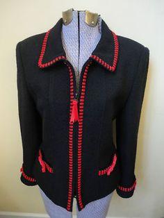 Gorgeous Teri Jon Rickie Freeman Navy Blue Wool Blazer Jacket Red Velvet Trim sz 4 SALE $31.49  http://cgi.ebay.com/ws/eBayISAPI.dll?ViewItem=300827771224=STRK:MESE:IT