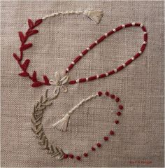 hand embroidery - couching, french knots, daisy, tassels i think i will embroider this on my jeans. Embroidery Letters, Hand Embroidery Patterns, Embroidery Art, Embroidery Applique, Cross Stitch Embroidery, Couching Stitch, Sewing Crafts, Needlework, French Knots