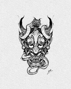 Ghetto Tattoos, Evil Tattoos, Top Tattoos, Body Art Tattoos, Tattoo Drawings, Japanese Mask Tattoo, Japanese Tattoo Designs, Tattoo Finder, Tiger Artwork