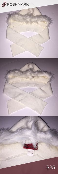 NWT Hooded Faux Fur Scarf Size 2-4 Suoer Cute! San Diego Hat Company Adorable Faux Fur Hooded Scarf size 2-4 Toddler. Ivory Hood with Faux Fur around front attached to a scarf. New without Tags. Cozy & Warm (not to mention super cute) San Diego Hat Company Accessories Hats