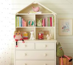 Another piece of inspiration~ love the dollhouse feel to the hutch of this dresser.
