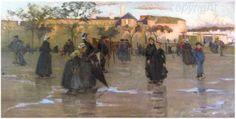 """Joseph Milner KITE : """" Jour de pluie devant la Ville Close """" Collection de la ville de Concarneau"""