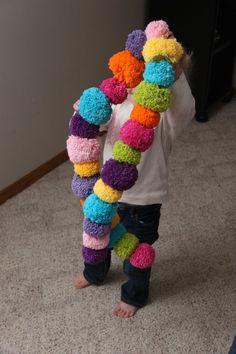 Pom pom scarfs I made, cotton yarn, pom pom maker