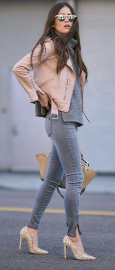 @roressclothes clothing ideas #women fashion ..pink leather jacket gray jeans