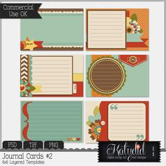 Journal or Pocket Scrapbooking Layered Templates Pack No 2, PSD, TIFF, PNG, Commerical Use