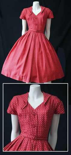 vintage Peck Peck silky red patterned dress Marjorie Sardin Wright This one would look splendid on you. Love the shape of this dress. Vestidos Vintage, Vintage Dresses, Vintage Outfits, 1950s Dresses, Vintage Shoes, Vintage Clothing, Vintage Kimono, Pretty Outfits, Pretty Dresses