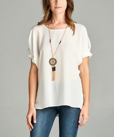 Look at this Ivory Puff-Sleeve Top on #zulily today!