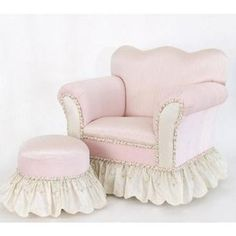 Child's Pink Chair and Tuffet by Glenna Jean Girl Nursery, Girls Bedroom, Nursery Ideas, Room Ideas, Toddler Rooms, Baby Rooms, Toddler Furniture, Baby Crib Bedding, Bedroom Chair
