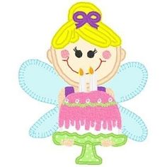Fairy With Cake App 3 Sizes   Fairies   Machine Embroidery Designs   SWAKembroidery.com Bella Marie Boutique