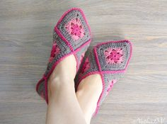 Crochet womens slippers granny square slippers house by NatkaLV Granny Square Slippers, Sheep Wool, Wool Yarn, Womens Slippers, Hand Crochet, Espadrilles, Socks, Pairs, Pure Products