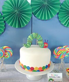 A Very Hungry Caterpillar Birthday Party - Rainbow Cake via Made With Pink Birthday Party Desserts, 3rd Birthday Cakes, Rainbow Birthday, Birthday Parties, Birthday Ideas, Birthday Diy, Elephant Baby Shower Cake, Elephant Cakes, Celebration Cakes