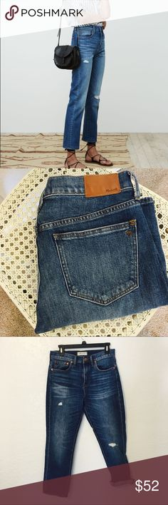 Madewell straight crop jeans Excellent condition Madewell straight crop jeans. Size 28. These look so cute cuffed or regular! These are the perfect jeans! Madewell Jeans