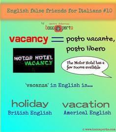 English-Italian FALSE FRIENDS, ep.10: Sorry, we don't have any vacancies at the moment.