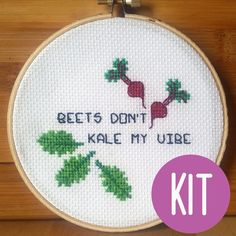 CROSS STITCH KIT: Beets Don't Kale My Vibe - Rap Lyric Pun Funny ...