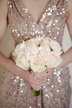 Sparkly rose gold bridesmaid dress paired with a blush pink bouquet. Photography: Wayne and Angela