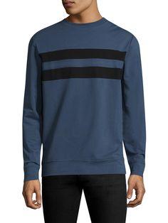 ANTONY MORATO MEN'S STRIPED COTTON SWEATER - BLUE, SIZE XXL. #antonymorato #cloth #