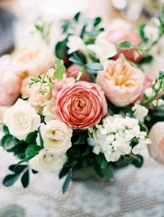 Gorgeous florals: http://www.stylemepretty.com/2015/04/28/elegant-colorful-lakeside-wedding/ | Photography: When He Found Her - http://www.whenhefoundher.com/