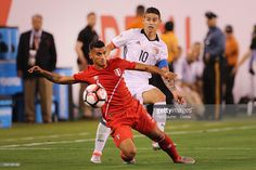 Miguel Trauco #6 of Peru is challenged by James Rodriguez #10 of Colombia during the Colombia Vs Peru Quarterfinal match of the Copa America Centenario USA 2016 Tournament at MetLife Stadium on June 17, 2016 in East Rutherford, New Jersey.
