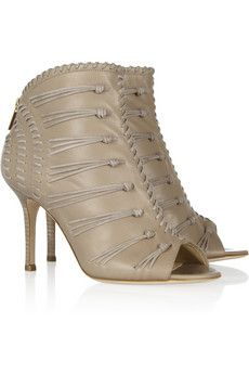 Jimmy Choo:   Gio suede-woven leather sandals