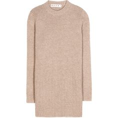 Marni Knitted Sweater Dress (4.676.765 IDR) ❤ liked on Polyvore featuring dresses, tops, sweaters, sweater dress, beige, beige sweater dress, pink dress, beige dress and marni