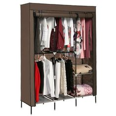 Rebrilliant This portable closet storage organizer clothes wardrobe is made from selected non-woven fabric cover, high-quality steel tube, and PP plastic connectors, which will durable and meet your long term storage needs. The size of the clothes wardrobe makes it suitable for organizing your small rooms and walk-in closet. Movable improved clothes hanging rod and 4 storage shelves offer you enough space both for your longer outfits and folded clothes. The zippered dustproof cover offered… Wardrobe Storage, Wardrobe Closet Organizer, Closet Shelf Organization, Wardrobe Closet, Portable Wardrobe Closet, Storage Closet Organization, Clothes Closet, Portable Closet, Closet Clothes Storage