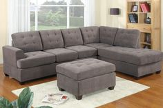 3pc Modern Reversible Grey Charcoal Sectional Sofa Couch with Chaise and Ottoman #CasaAndreaMilano #Modern