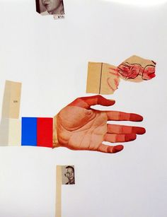 Hand To Mouth | litakenyonart (c) 2013   Collage on paper using vintage ephemera.
