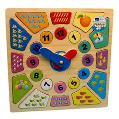 Baby/Toddler Teach Time Wooden Puzzle Shape Sorter Fun Activity Learning Clock | eBay - 7.25 pounds