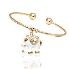 Peermont Jewelry 18k Gold-plated Goldtone and White Elephant Charm Bangle