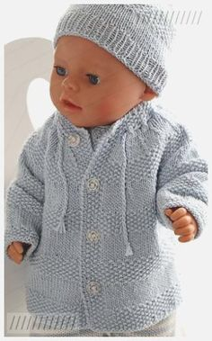 Baby born clothes knitting - Knit a wonderful baby doll set Crochet Dolls Free Patterns, Crochet Headband Pattern, Baby Knitting Patterns, Knitting Designs, Baby Patterns, Knitted Hats Kids, Knitted Baby Clothes, Baby Annabell Kleidung, Baby Blanket Crochet