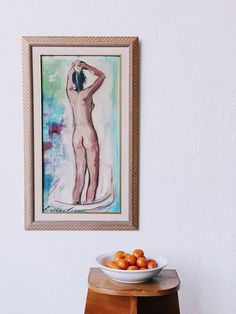 vintage nude bathing painting / super marché