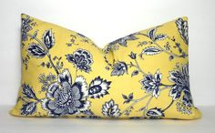 Navy & Yellow Floral Pillow Cover Decorative Flower by HomeLiving