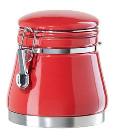 Take a look at this Red Airtight 46-Oz. Ceramic Canister by OGGI on #zulily today!