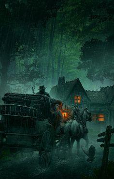 Beautiful Fantasy Illustrations by Kerem Beyit art Halloween Illustration, Art And Illustration, Illustration Inspiration, Art Illustrations, Dark Fantasy, Fantasy Places, Fantasy World, Fantasy Kunst, Wow Art