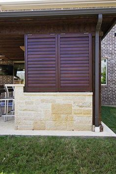 Porch and Patio Shutters for privacy and sun control. Porch shutters provide shade and decor for your outdoor living areas. Bermuda Shutters, Bahama Shutters, Navy Shutters, Cottage Shutters, House Shutters, Exterior Shutters, Outdoor Shutters, Shutter Designs, Shutter Blinds