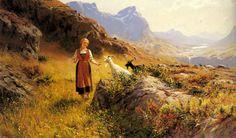 Un paisaje alpino con una pastora y cabras