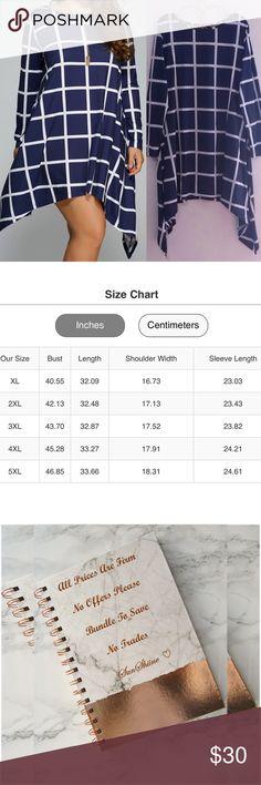 Blue & White Grid Pattern Asymmetrical Dress Size 3XL & 4XL - Size Chart Available To Guide You Plus Size Dresses Asymmetrical