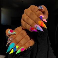 Stiletto nail art design is one of the most popular nail shapes. If you like a bold look, stiletto nails are your best choice. Whether you like it or not, the trend of stiletto nails is hard to change. In this article, we have collected 65 stylish s Nail Swag, Acrylic Nail Designs, Nail Art Designs, Nails Design, Lee Nails, Stiletto Nail Art, Stiletto Nail Designs, Summer Stiletto Nails, Coffin Nails