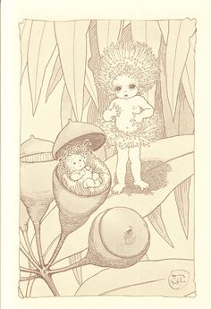 The Gumnut Babies as drawn by May Gibbs, Australian author and illustrator