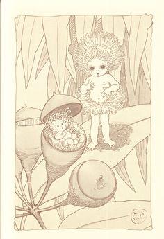 The Gumnut Babies as drawn by May Gibbs, Australian author and illustrator Illustrators, Botanical Art, Botanical Illustration, Drawings, Fantasy Art, Elements Of Art, Australian Art, Illustration Art, Fairy Art